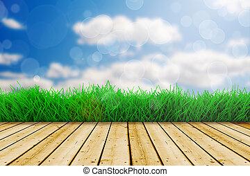 blauwe , vloer, hemel, gras, hout, groene achtergrond, fris