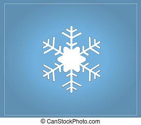 blauwe , vlok, kerstmis kaart, sneeuw