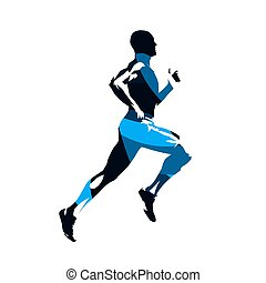 blauwe vlucht, abstract, vrijstaand, silhouette, rennende , vector, overzicht., man, bovenkant