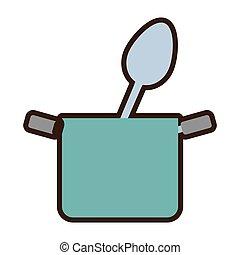 blauwe , voedingsmiddelen, pot, keukengerei, lepel