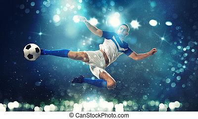 blauwe , voetbal, klappen, bal, lucht, donkere achtergrond, aanvaller, schop, acrobatisch