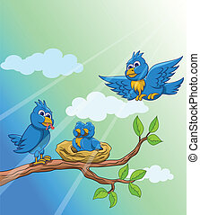 blauwe vogel, gezin, morgen