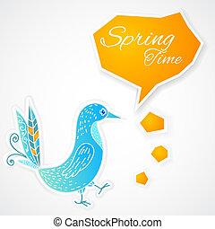 blauwe vogel, met, bel, op wit, achtergrond