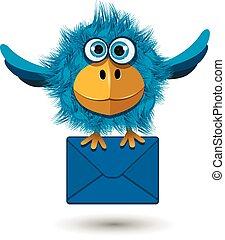blauwe vogel, met, een, blauw envelope