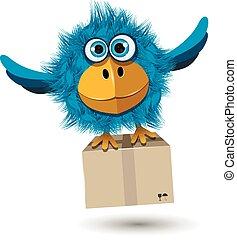 blauwe vogel, met, een, doosje