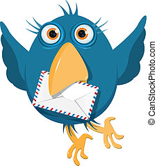 blauwe vogel, met, een, enveloppe