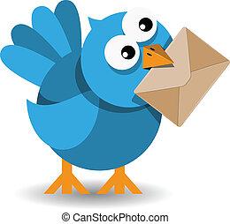 blauwe vogel, met, een papier, enveloppe