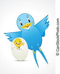 blauwe vogel, met kind