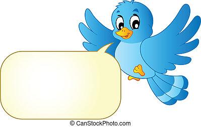 blauwe vogel, met, komieken, bel