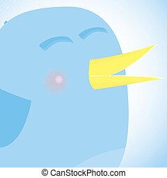 blauwe vogel, netwerk, media, concept., sociaal