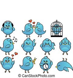 blauwe vogel, pictogram, set, vector