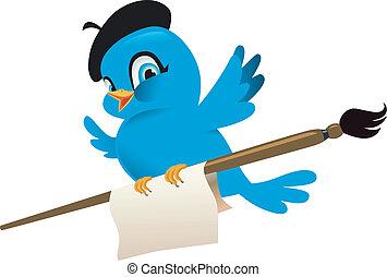blauwe vogel, spotprent, illustratie
