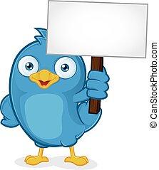 blauwe vogel, vasthouden, meldingsbord