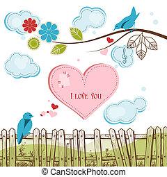 blauwe , vogels, het zingen, liefde, vector, illustratie