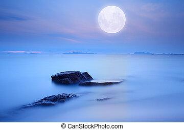blauwe , volle, op, techniek, hemel, maan, zee, blootstelling