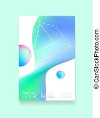 blauwe , voorbeelden, primitives., helling, poster, aanplakbiljeten, enig, voorstellingen, geometrisch, gedaantes, vector, groene, rapporten