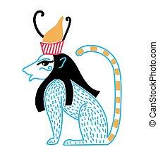 blauwe , vorm, egyptisch, kroon, leeuw, deity