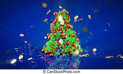 blauwe , vorm, goud, geld, rendering., boompje, donker, achtergrond., animatie, figuren, items, gelul, kerstmis, 3d