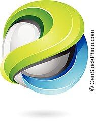 blauwe vorm, groene, glanzend, logo, 3d