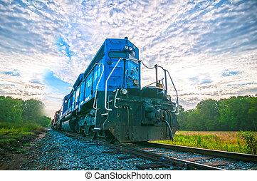blauwe , vrachttrein, motor, op, zonopkomst
