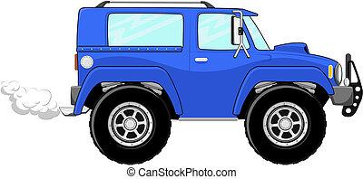 blauwe , vrachtwagen, spotprent, vrijstaand
