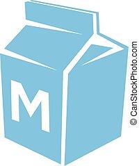 blauwe , vrijstaand, illustratie, vector, achtergrond, witte , melk, pictogram
