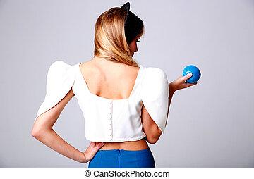 blauwe , vrouw, appel, jonge, back, verticaal, aanzicht