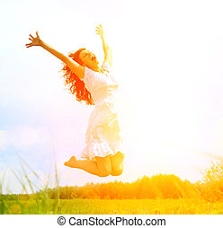 blauwe , vrouw, beauty, sky., op, jonge, springt, plezier, meisje, hebben, vrolijke