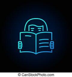 blauwe , vrouw, boek, pictogram, lezende