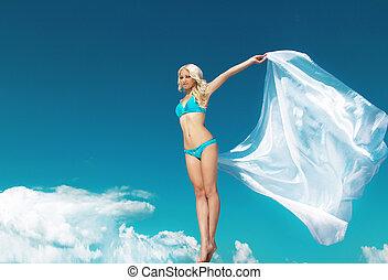 blauwe , vrouw, geopend, haar, buitenshuis, hemel, jonge, verrukking, volle, portrait., vrouwenhanden