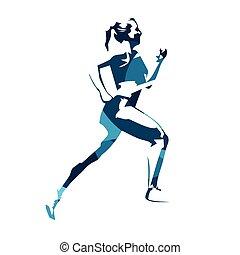 blauwe , vrouw, illustration., mensen, abstract, sportende, rennende , vector, actief, uitvoeren
