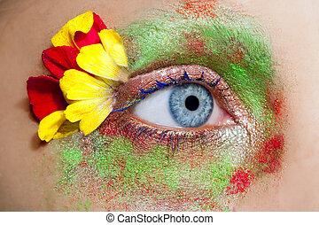 blauwe , vrouw oog, lente, makeup, metafoor, bloemen