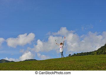 blauwe , vrouw, (outdoors), natuur, hemel, achtergrond, het genieten van