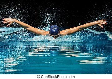 blauwe , vrouw, pet, jonge, kostuum, pool, zwemmen