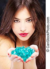 blauwe , vrouw, rotsen