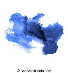 blauwe , watercolor, kleur, abstract, vrijstaand, textuur, ...