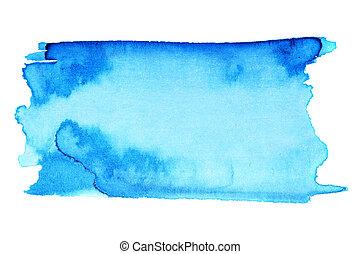 blauwe , watercolor, slagen, borstel