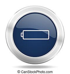 blauwe , web, batterij, app, illustratie, metalen, donker, beweeglijk, internetten ikoon, knoop, ronde