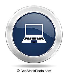 blauwe , web, beweeglijk, app, illustratie, metalen, donker, computer, internetten ikoon, knoop, ronde