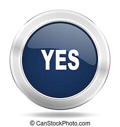 blauwe , web, beweeglijk, app, illustratie, metalen, donker, internetten ikoon, ja, knoop, ronde