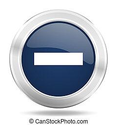 blauwe , web, beweeglijk, app, illustratie, metalen, donker, internetten ikoon, knoop, minus, ronde