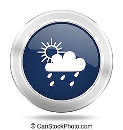 blauwe , web, beweeglijk, app, regen, metalen, donker, illustratie, internetten ikoon, knoop, ronde