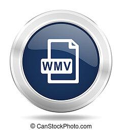 blauwe , web, beweeglijk, app, wmv, illustratie, metalen, donker, bestand, internetten ikoon, knoop, ronde