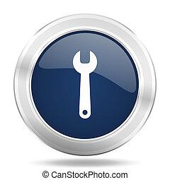 blauwe , web, beweeglijk, werktuig, illustratie, metalen, donker, internetten ikoon, knoop, app, ronde