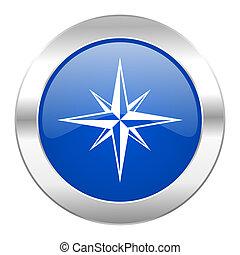 blauwe , web, chroom, vrijstaand, kompas, cirkel, pictogram