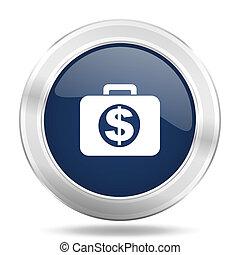 blauwe , web, financieel, beweeglijk, app, illustratie, metalen, donker, internetten ikoon, knoop, ronde