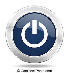 blauwe , web, macht, beweeglijk, app, illustratie, metalen, donker, internetten ikoon, knoop, ronde