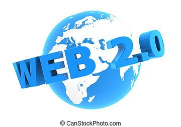 blauwe , web, ongeveer, -, glanzend, wereld, 2.0