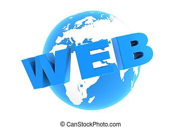 blauwe , web, ongeveer, -, glanzend, wereld