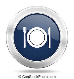 blauwe , web, restaurant, beweeglijk, app, illustratie, metalen, donker, internetten ikoon, knoop, ronde